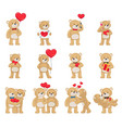 soft toy teddy bears couples with hearts in love vector image vector image