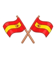 Spain crossed flag icon cartoon style vector image vector image