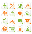 stylized petrol station and travel icons vector image