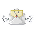 surprised open envelope on cartoon shape blank vector image