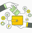 two hands with money and wallet on light vector image