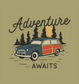 vintage hand drawn travel badge with camp car vector image vector image