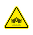 warning king royal crown of yellow triangle road vector image vector image