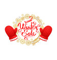 winter sale wreath made of snowflakes gloves vector image vector image