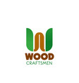 wood craftsman badge vector image vector image