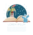 Opened fantasy book vector image