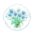 Watercolor bouquet of blue tulips vector image