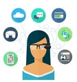 Woman wearing glasses augmented reality Flat icon vector image