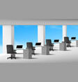 3d view white office interior with computers vector image vector image