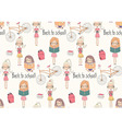 Back to school seamless pattern with school girls