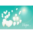 Background with white balloons in the sky vector image vector image