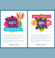 best discount promo posters set cartoon flower vector image