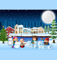 cartoon happy kids playing and making a snow in wi vector image vector image