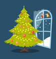 christmas tree and window vector image