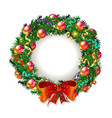 christmas wreath 2019 with red bow vector image vector image