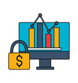computer monitor report chart money security vector image