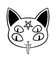 demonic cat with multiple eyes and a pentagram vector image
