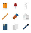 flat icon equipment set of letter copybook vector image vector image