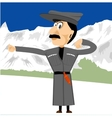 georgian dancing in mountains vector image