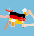 germany flag with a glass of beer and sausage vector image