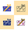 gift box icon set in flat and line styles vector image vector image