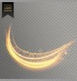 golden curve light streak transparent effect vector image vector image