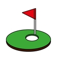 hole golf sport with flag icon vector image vector image