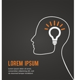 human head thinking a new idea on black background vector image vector image