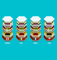 isometric wine bottles stacked on wooden racks vector image vector image