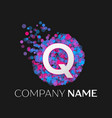 letter q logo with blue purple pink particles vector image vector image