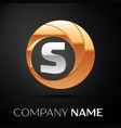 letter s logo symbol in the golden-silver circle vector image