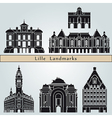 lille landmarks and monuments vector image vector image