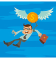 man and winged coin vector image vector image