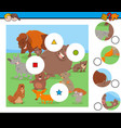 match pieces puzzle with funny wild mammals vector image