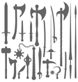 medieval weapons silhouette set vector image vector image