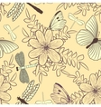 seamless pattern with flowers and butterflies vector image vector image