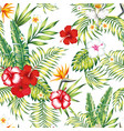 seamless realistic botanical pattern white vector image vector image