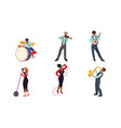 set jazz band musicians and singers vector image vector image
