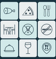 set of 9 food icons includes cutlery dining room vector image vector image