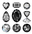 Set of greyscale black gems vector image