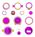 Set of sale badges labels and stickers in purple vector image vector image
