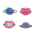 set planet and mouth fashion patch vector image vector image