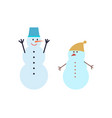 snowman winter holiday characters in bucket hat vector image vector image