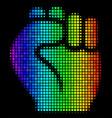spectrum pixel fist icon vector image