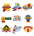 success and victory banners set certified seals vector image vector image