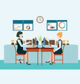 two business woman sitting at the table vector image vector image