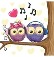 Two owls with headphones vector image vector image