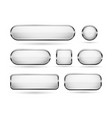 white glass buttons with chrome frame 3d icons vector image vector image