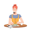 woman on diet eating salad and enjoy cup coffee vector image vector image