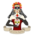woman with dia los muertos make-up vector image